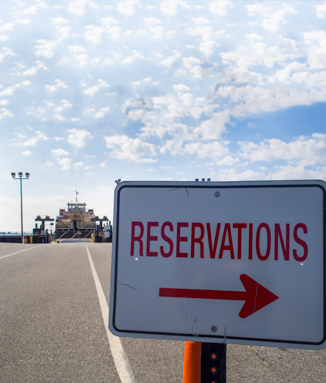 Ferry reservations sign
