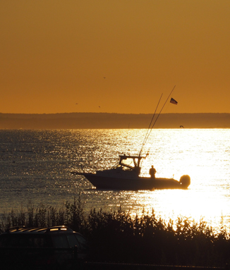 Lone fisherman on his boat at sunset