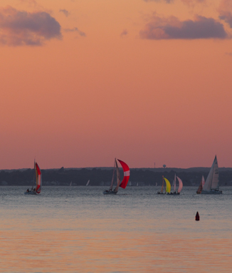 Spinnakers at sunset